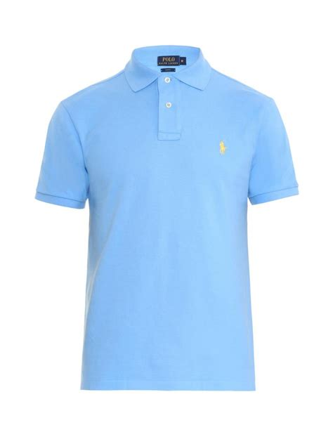 light blue polo shirt mens polo ralph lauren slim fit cotton piqu 233 polo shirt in blue