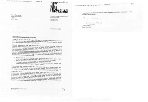 charity commission letter on war on want uk charity commission correspondence