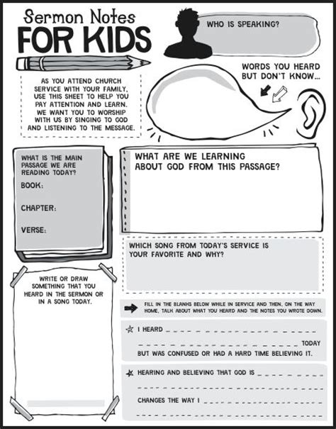 Chsh Sermon Notes For Kids Free Children S Church Bulletin Templates