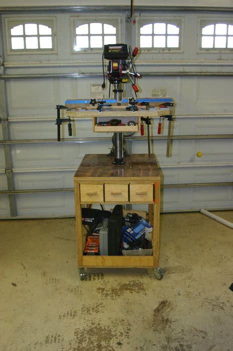 bench drill press stand bench top drill press rolling cart by turbinetester lumberjocks com woodworking