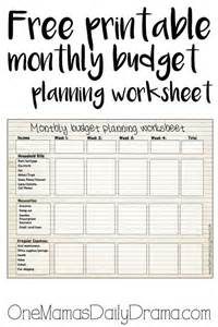 free printable monthly budget worksheet other monthly