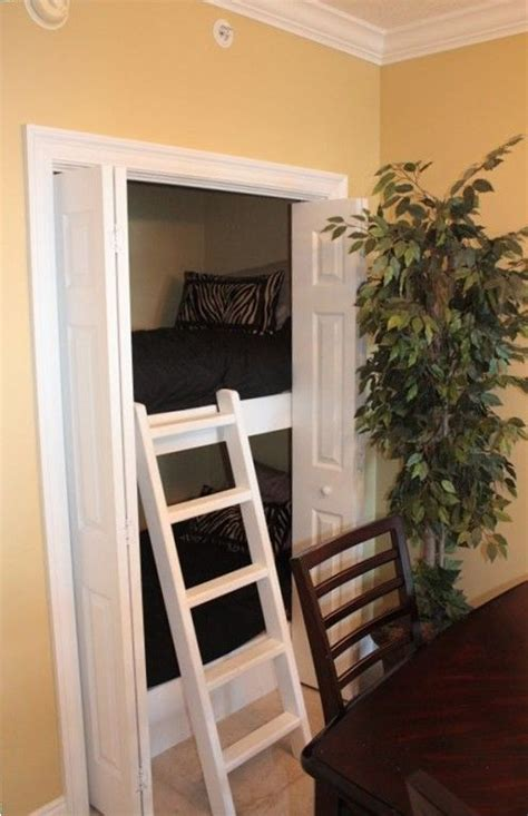 loft bed with closet bunk beds stacked in a closet kids would love this it