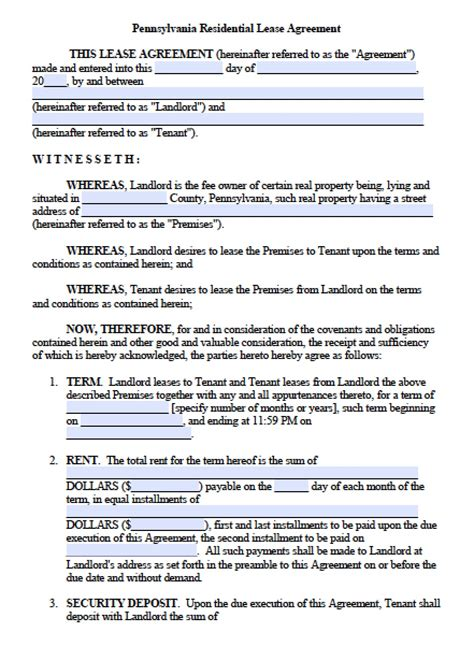 lease agreement pdf free pennsylvania residential lease agreement pdf word