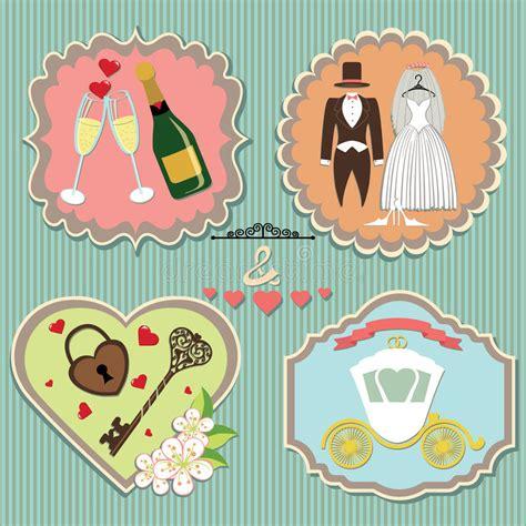establecer etiquetas vintage con los corazones vector de etiquetas con los elementos de la boda vintage