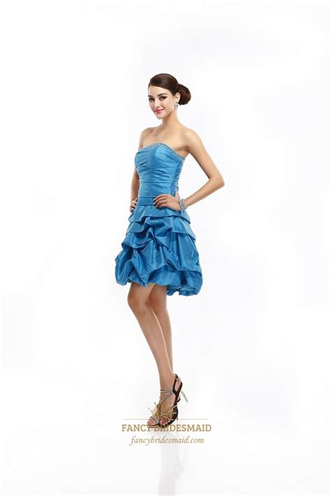 Blus Taffeta blue strapless beaded taffeta cocktail dress with