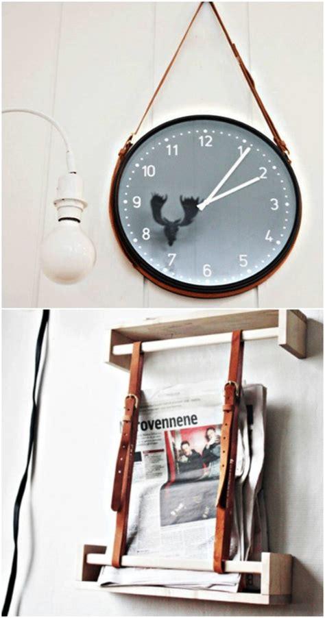 diy leather belt clock hanger 25 creative ways to repurpose and reuse leather belts diy crafts