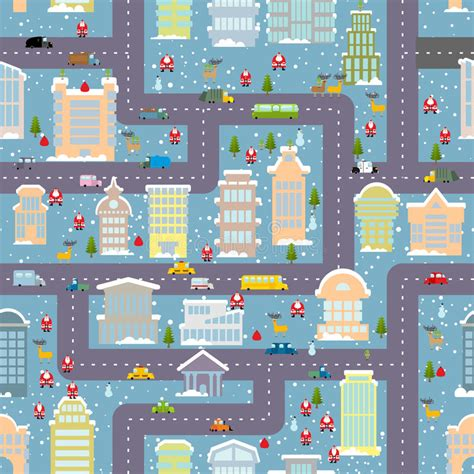 cute map pattern winter city seamless pattern christmas in city map real