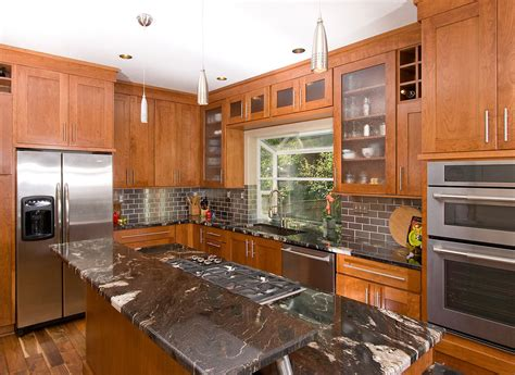 pretty cherry cabinets mode portland transitional kitchen