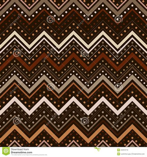 brown zig zag pattern zig zag pattern with lines and dots in brown tones stock