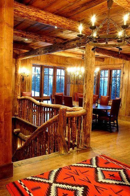 mountain lodge rustic interior design  montana usa