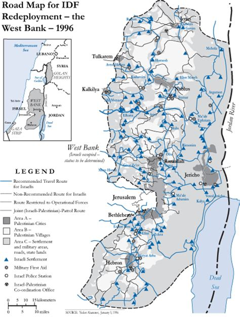 middle east map west bank road map for idf redeployment the west bank mar 1996