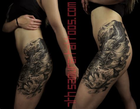 thigh piece tattoos lotus s thigh leg hip asian