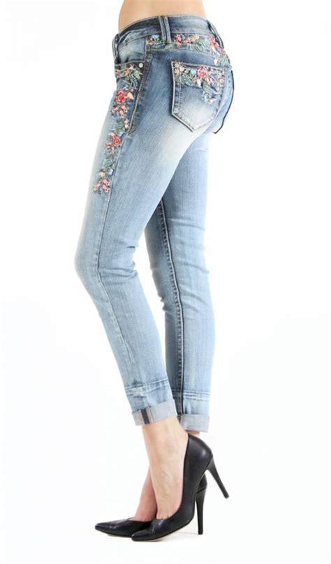 skinny rose garden embroidered jeans theblingboxonlinecom