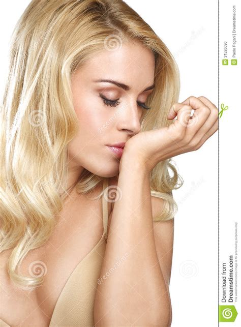 why do the blonde women on young and restless have darker hair beauty blonde woman smell his perfume on white stock photo