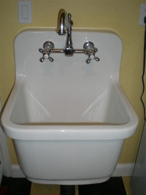 Laundry Room Sinks And Faucets Kohler Sudbury Vintage Style Sink Removed Plastic Sink And Oak Cabinet And Replaced