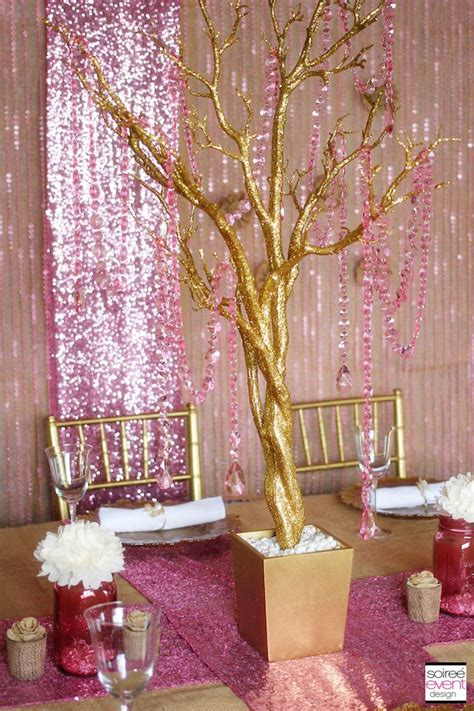 pink and gold centerpiece ideas afloral has sequin
