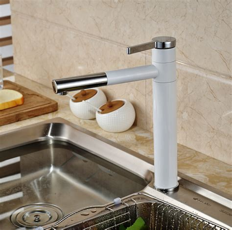 Kitchen Sink Paint Grilled White Paint Countertop Bathroom Kitchen Sink Faucet Deck Mount Single Handle 360 Swivel