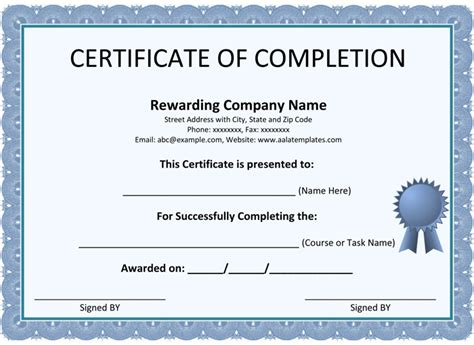 certificate of completion ojt template certificate of completion template 5 printable formats