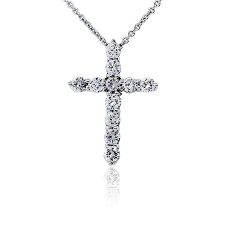 Cross Chain Necklace 18k white gold cross pendant chain necklace boca