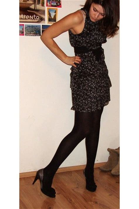 black zara dresses black golden point tights black il