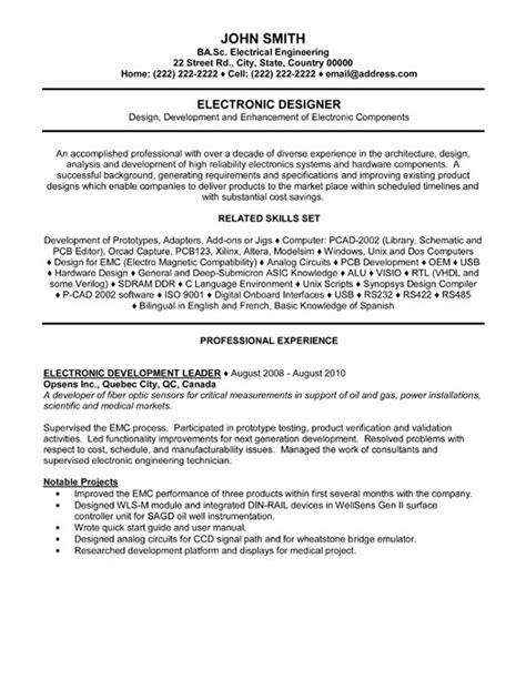 Electronic Tester Sle Resume by Resume For Electronics Engineer Student 28 Images Electronic Engineering Resume Format