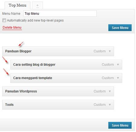 membuat navigasi wordpress cara membuat menu navigasi di wordpress