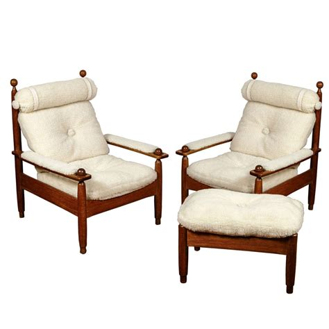 armchairs and ottomans beautiful set of wood armchairs and ottoman at 1stdibs