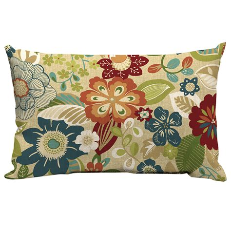 Shop Garden Treasures Bloomery Floral Rectangular Lumbar Outdoor Patio Lumbar Pillows
