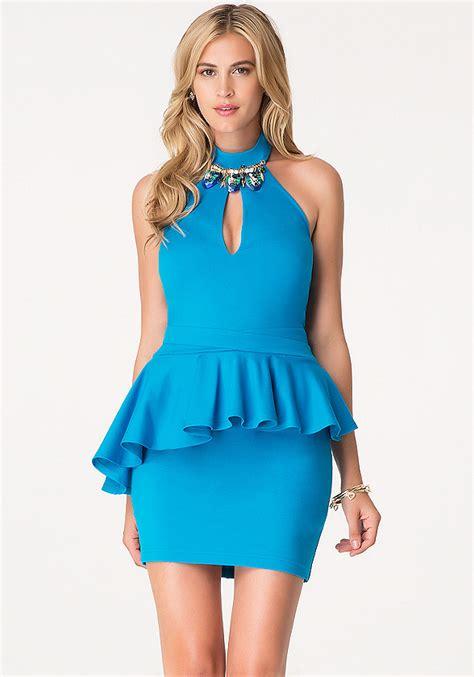 Sale Dress Bebe Halter 1 jeweled peplum halter dress bebe