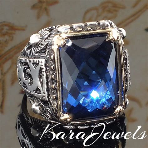 Blue Safir With Ring 925 sterling silver ring with blue sapphire cz unique