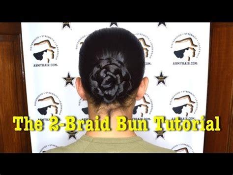 how to do a miltary bun with long hair army hair 2 braid bun tutorial youtube