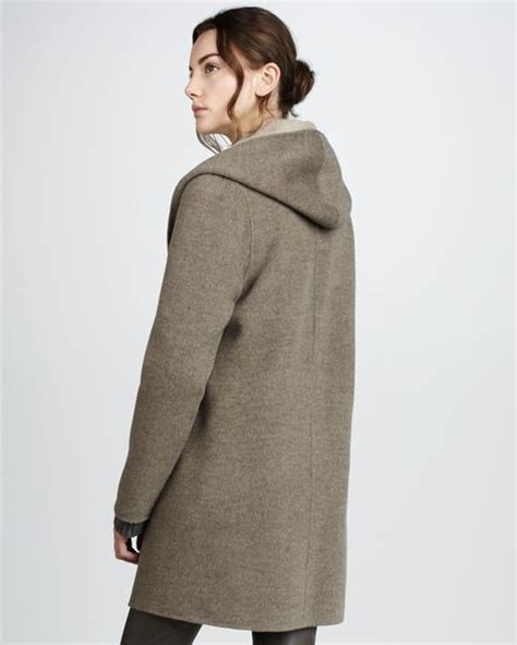 vince drape hooded coat vince draped hooded coat in gray h maple h cafe lyst