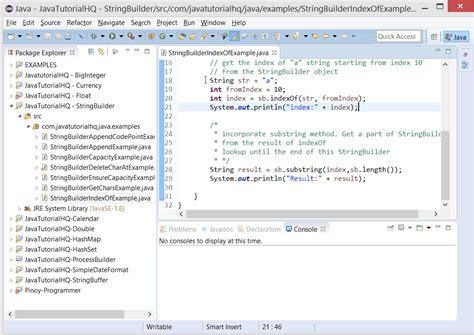 java tutorial really big index java stringbuilder indexof method exle