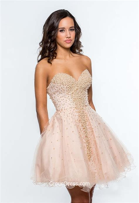 Short Clustered Beaded Pink Casual Strapless Tulle A Line Prom Dress Low Back   GroupDress.com
