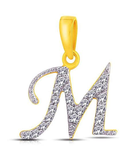 """Letter """"M"""" shaped Gold & Diamond Pendant By Me Jewels: Buy ... M Letter In Diamond"""