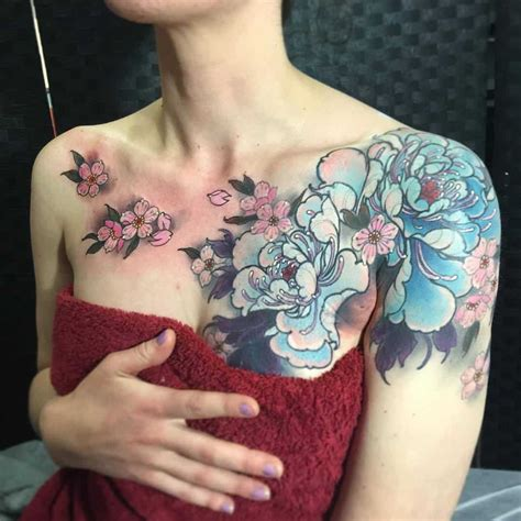 floral chest tattoo chest flower wrong flower inspiration