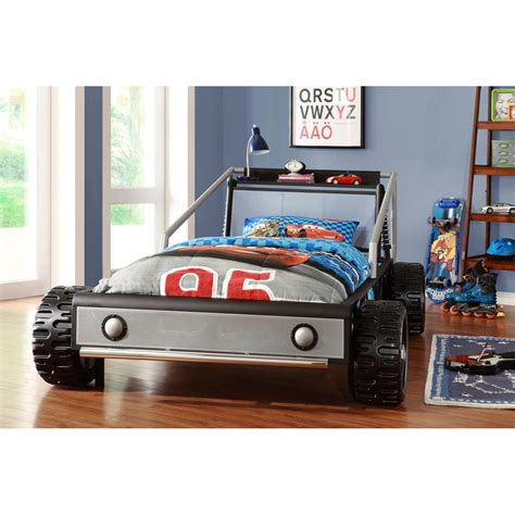 Toddler Car Bedroom Bed Kiran Toddler S Silver Race Car Size Bed