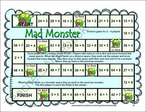 Printable Math Division Board Games | 12 printable division board games from games 4 learning