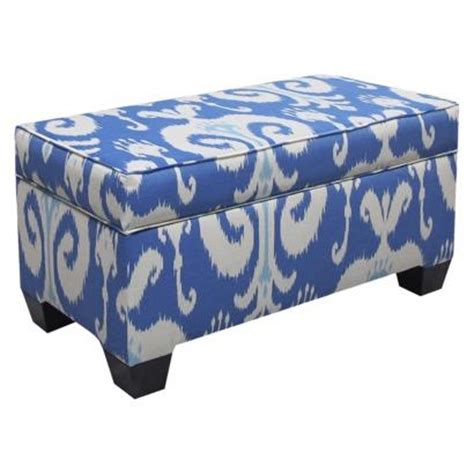 storage bench blue storage bench upholstered in fashion fabrics blue target