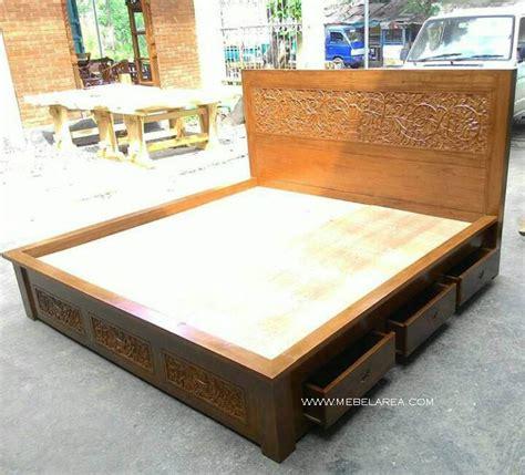 Dipan Kayu No 3 dipan minimalis 3 laci tempat tidur minimalis kayu jati