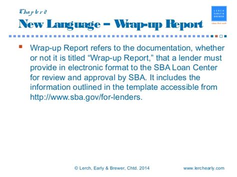 wrap up report template sba sop updates presentation 2016 03 04