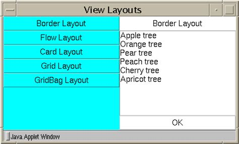 table layout manager java exploring the awt layout managers
