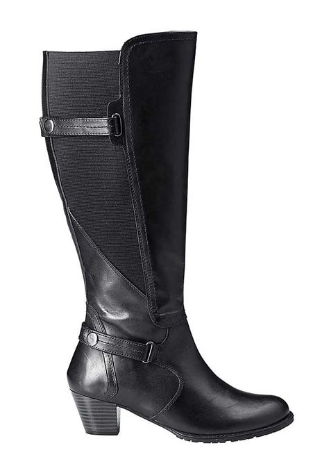 wide calf knee high leather boots