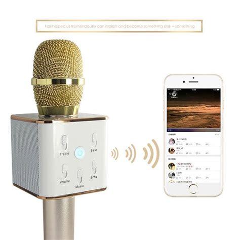 Mic Karoke Tuxun Q7 Bluetooth Wireless Microphone Limited tuxun q7 mobile karaoke wireless bluetooth speaker microphone mic gold