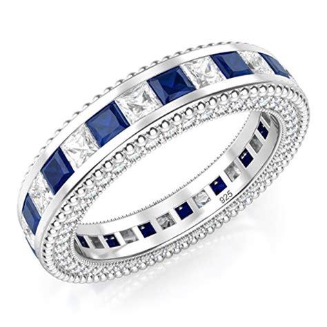 Blue Cubic Zirconia Ring 18 sz 8 sterling silver 925 princess cut blue white cubic