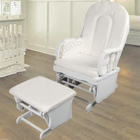 Rocking Chair With Ottoman For Nursery Wooden White Rocking Chair Ottoman Sliding Glider Baby Breast Feeding Nursery
