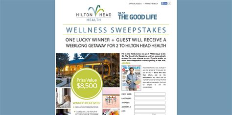 Health Sweepstakes - drozthegoodlife com hiltonheadhealth dr oz the good life is sending you to hilton