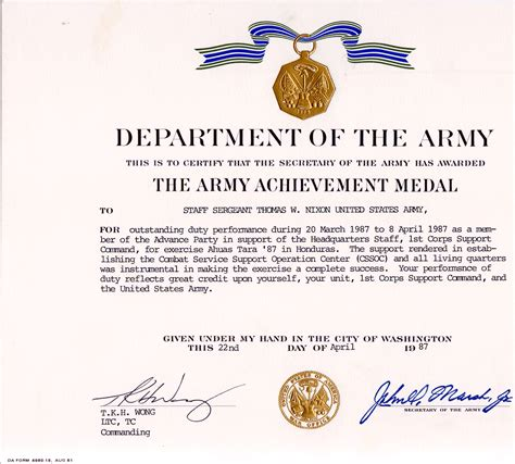 army achievement medal certificate army achievement medal award exle