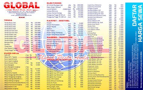 Update Info Daftar Harga update info daftar harga persewaan alat pesta global