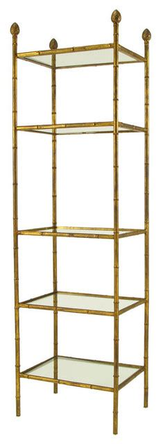 Metal Etagere Bathroom Gilt Metal Bamboo Form 201 Tag 232 Re With Pineapple Finials Traditional Bathroom Cabinets And